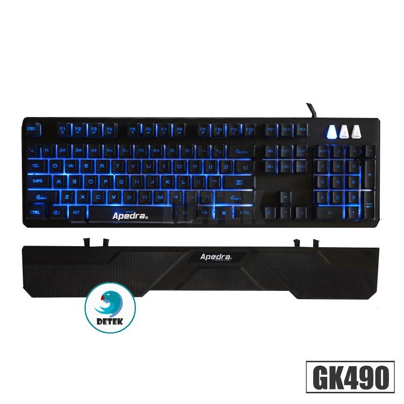 Bàn phím giả cơ GK 490 LED tặng kèm đế gác tay chống mỏi