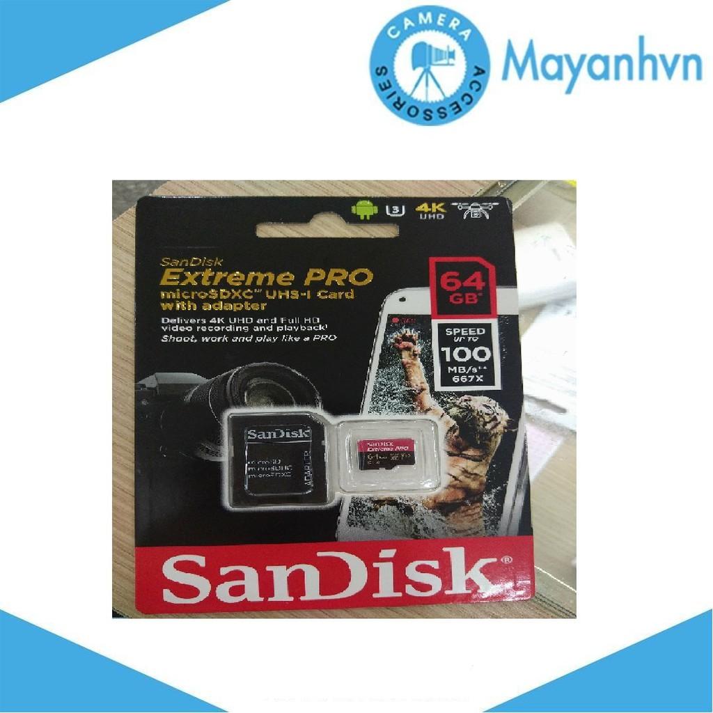 Thẻ Nhớ MicroSDXC SanDisk Extreme Pro V30 A1 667x 64GB (100MB/s) - Hàng chính hãng
