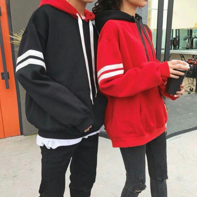 Áo hoodie đen đỏ - Áo khoác nỉ