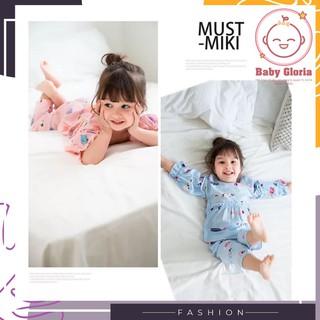 bộ pijama cho bé gái hình cute, tay dài nhúng bèo