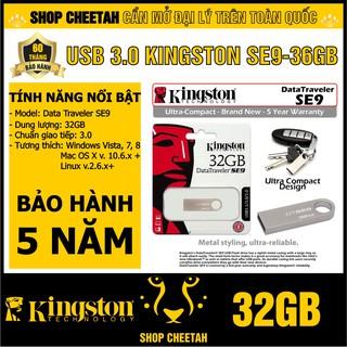 USB 3.0 Kingston 32GB DataTraveler SE9 – Vỏ thép nguyên khối – Chịu va đập – Kháng nước – CHÍNH HÃNG – Bảo hành 5 năm