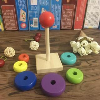 Combo 4 món: 1 Đàn gỗ Xylophone hình thú; 1 Đồng hồ gỗ; 1 Sâu gỗ; 1 Tháp xếp cầu vồng _Chất Lượng