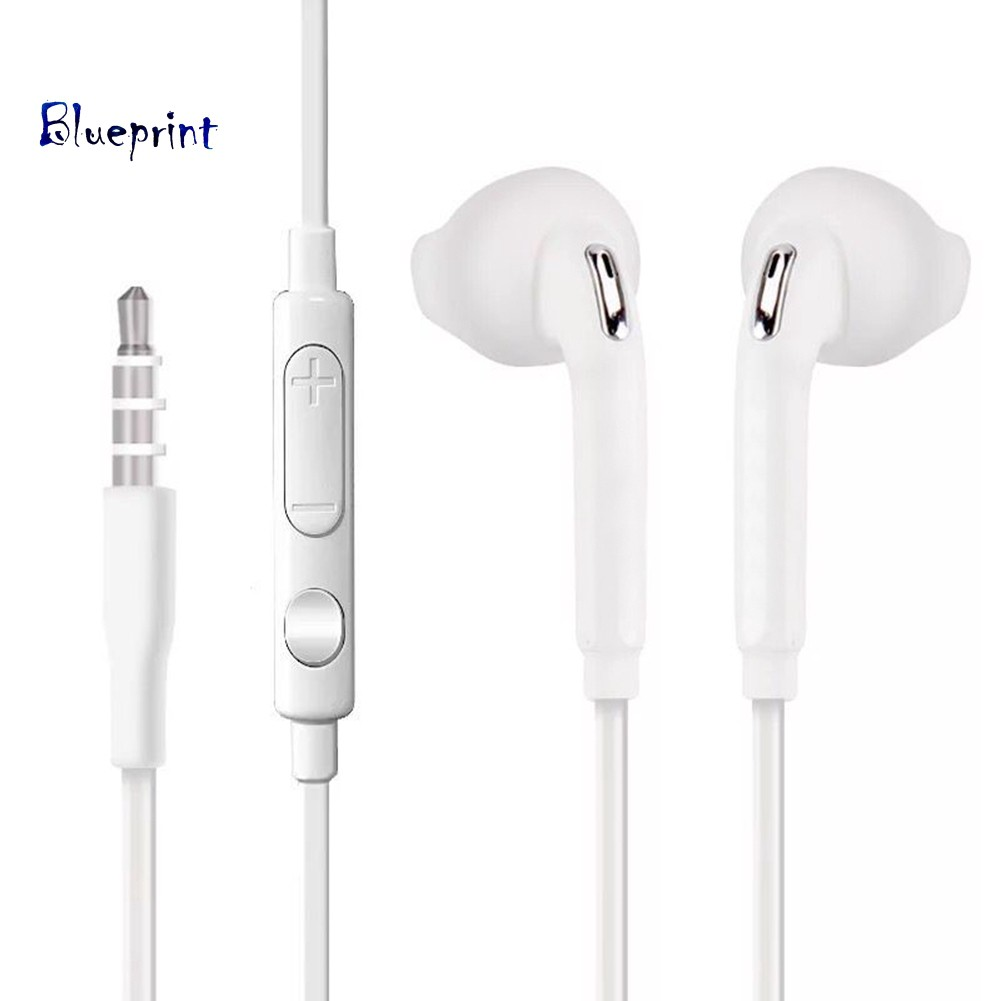 ☞BPUniversal 3.5mm Plug Wired Volume Control Mic Earphones for Samsung S6 S7 Edge