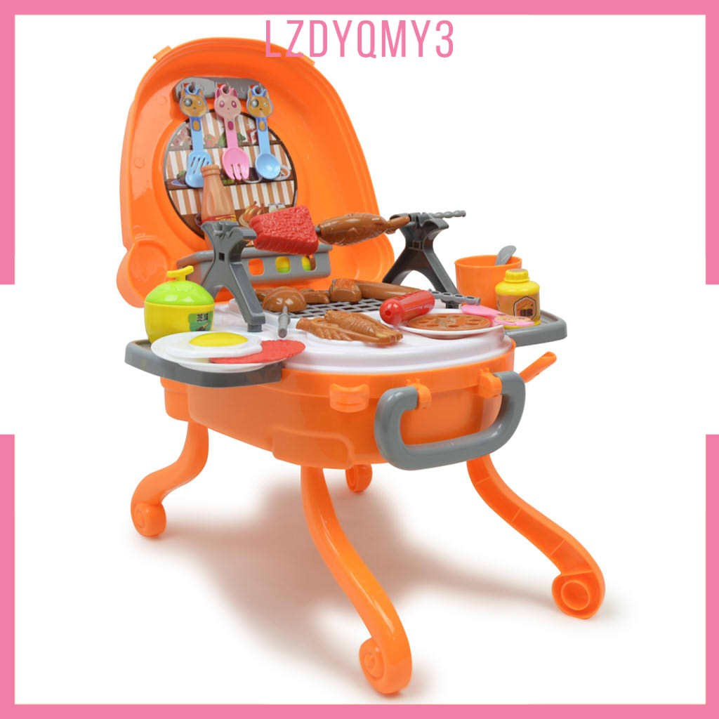 hausgarden 40 Piece Barbecue Grill BBQ Pretend Play Toy Kitchen Play Food Set for Kids