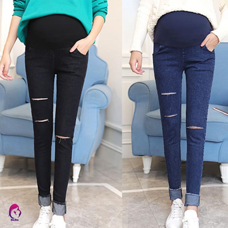 Quần Jeans rách lưng thun co giãn cho phụ nữ mang thai