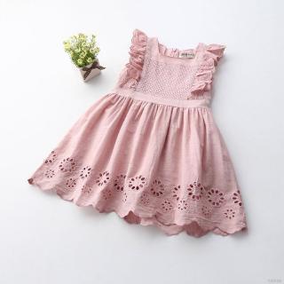 Đầm Cotton Sát Nách Cổ Vuông Hoạ Tiết Hoa Cho Bé Gái