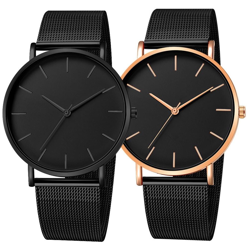 Đồng hồ thông minh siêu mỏng dạng lưới mặt hình tròn không số T21 cho nam