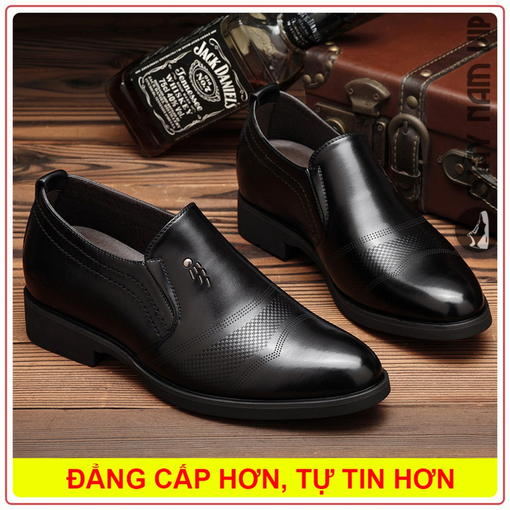 Giày Nam Tăng Chiều Cao - FREESHIP - Giày Lười Nam Da Trơn Sang Chảnh Tôn Dáng GD45