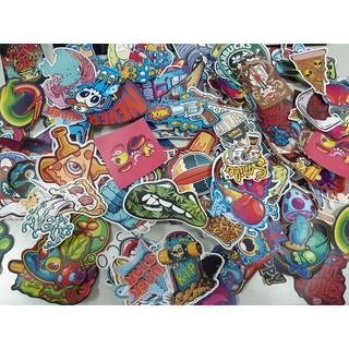 Sticker nhám size lớn 6-10cm ko thấm nước dán Nón BH, laptop, vali, xe,….