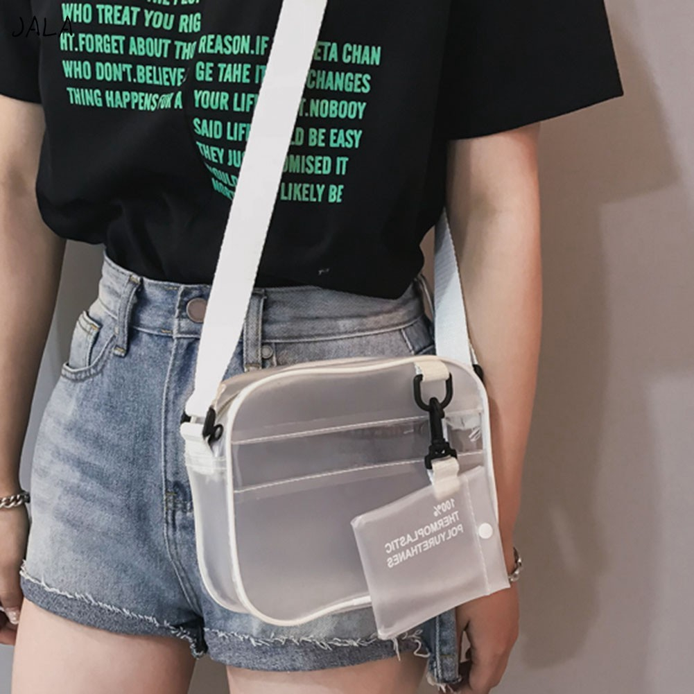 PVC cross-over transparent zipper bag