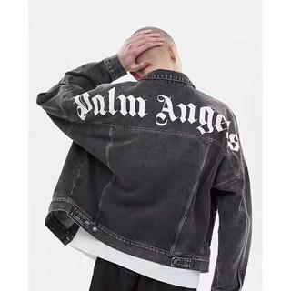 Áo Khoác Denim Đen In Logo Palm Angels 19 Ss Cá Tính