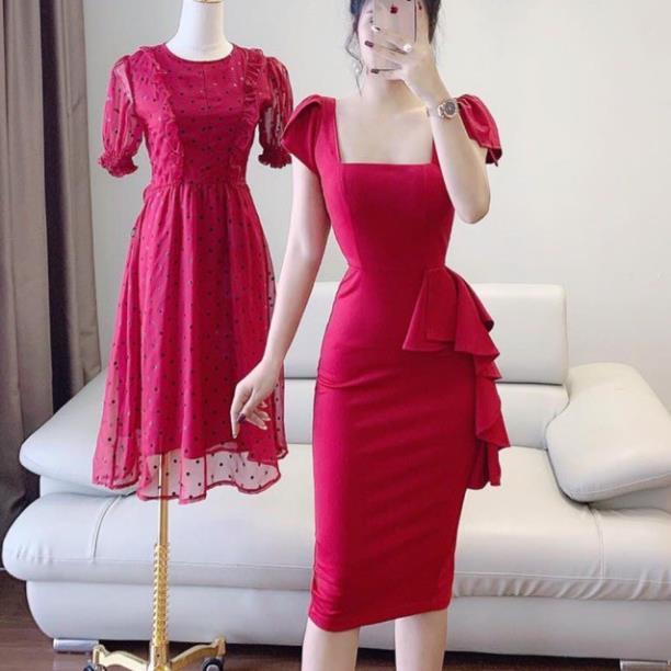 3127641213 - Váy body cổ vuông nữ hoàng V1159 đầm dự tiệc,công sở chất liệu Mie Design mẫu mới 2020