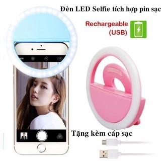 Đèn LED hỗ trợ Selfie 3 mức sáng kẹp điện thoại nhỏ gọn tạo hiệu ứng ánh sáng, tích hợp pin sạc lithium
