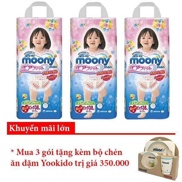 Combo 3 Tã quần Moony XL38 Girl chính hãng TA088
