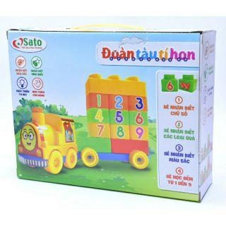 Bộ xếp hình ĐOÀN TÀU TÍ HON cho bé từ 2 tuổi đồ chơi nhựa an toàn SATO