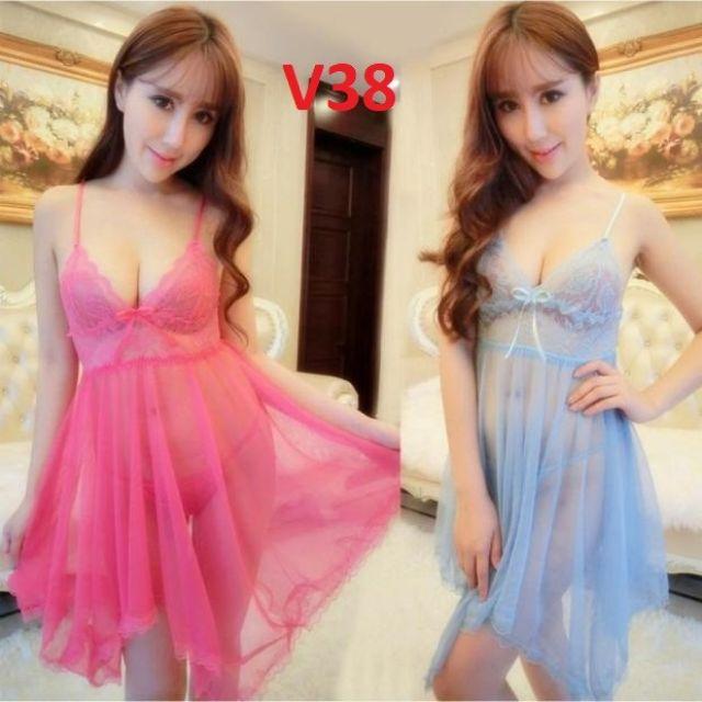 Áo váy ngủ xuyên thấu kèm quần chíp MS001