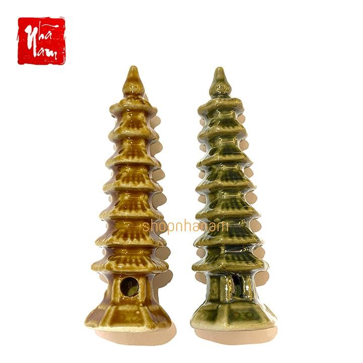 Tháp chùa vàng phụ kiện thác nước phong thủy