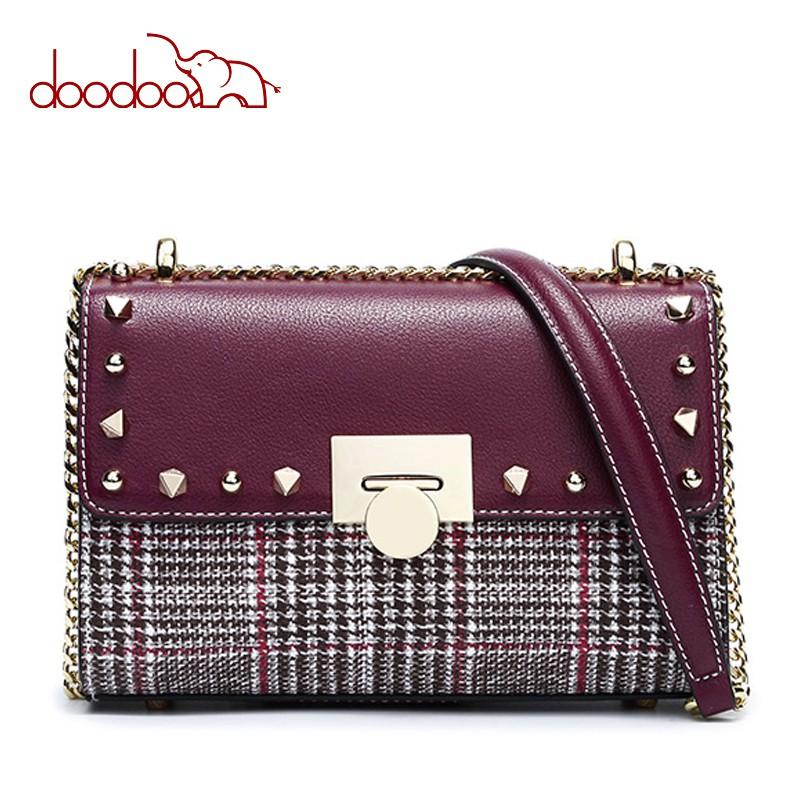 Túi xách thời trang DOODOO kẻ ca rô gắn họa tiết đinh tán sang trọng D7646