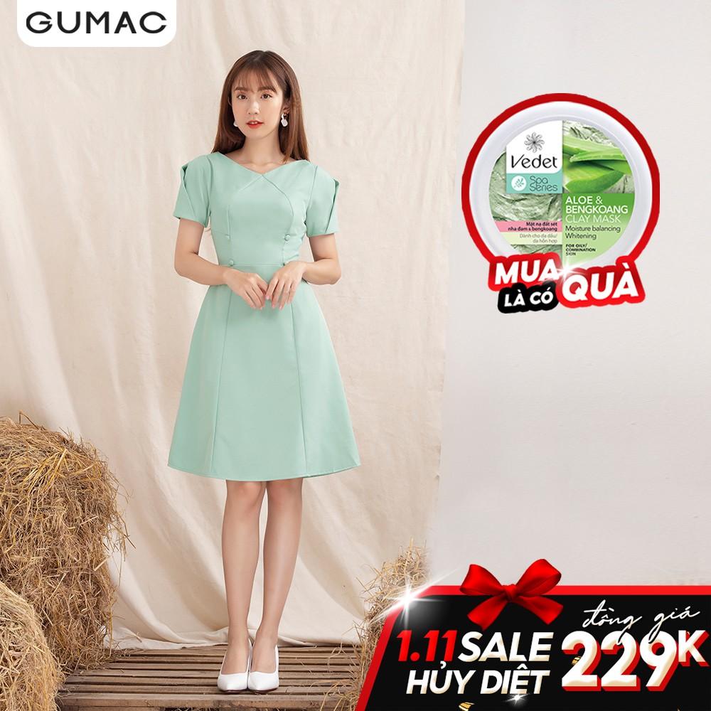 Đầm rã kiểu tay xếp GUMAC DA1060