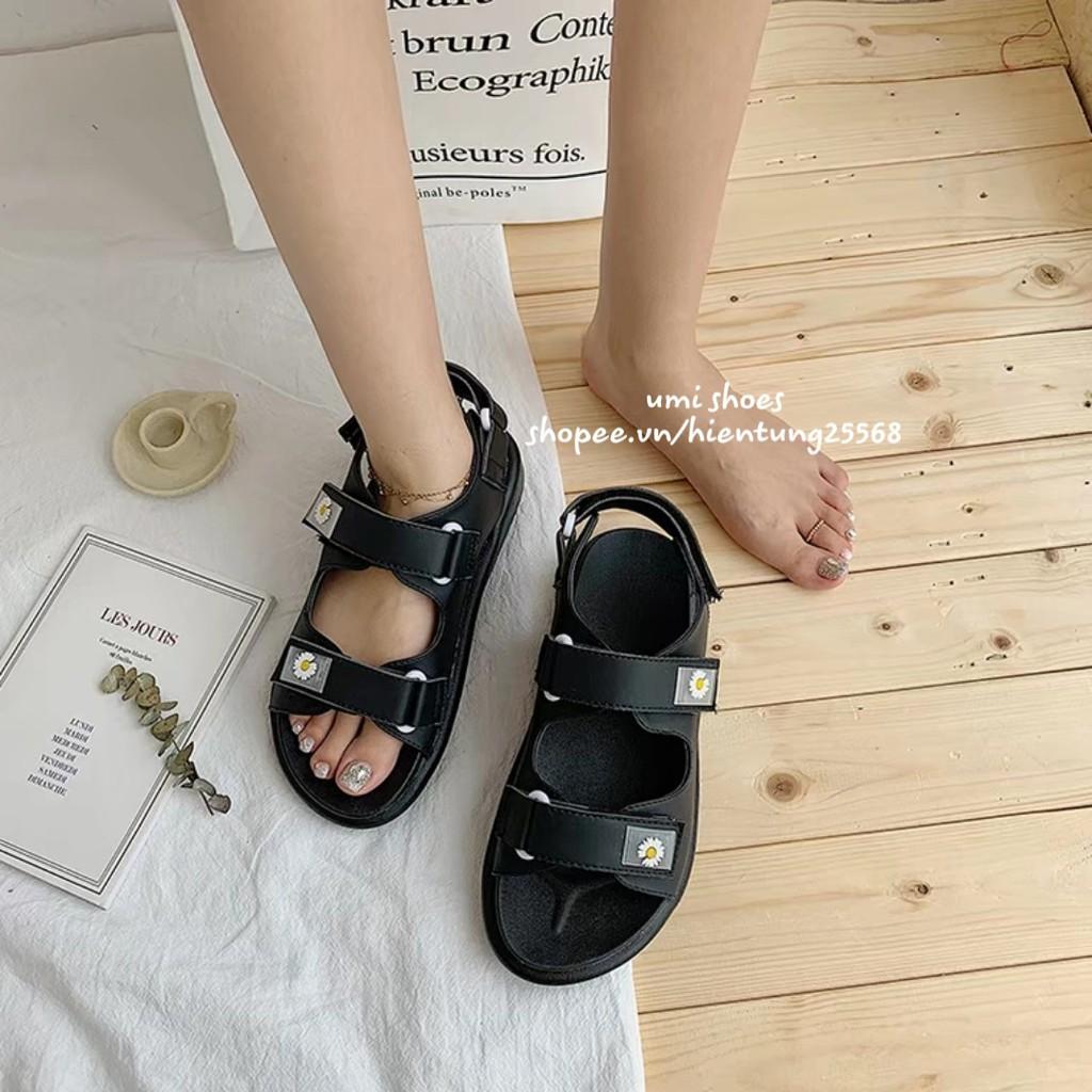 Sandal nữ hoa cúc Ulzzang quai ngang đơn giản đi mưa đế nâng độn cao 3cm đẹp màu xanh/be/đen trend mùa hè mới
