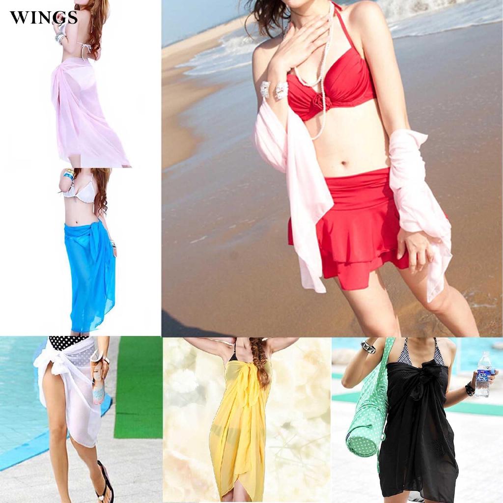 Beach Mantilla Sexy Translucent Scarf Pareo Chiffon for Women Girl Monochrome