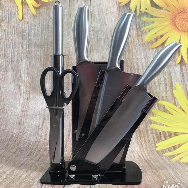 Bộ dao nhà bếp cao cấp Nhật Bản 5 món kèm giá đựng dao - Dụng cụ nhà bếp cao cấp - GUTYHome