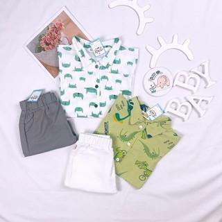 👕 Set áo sơ mi hình thú quần linen cho bé trai mùa hè