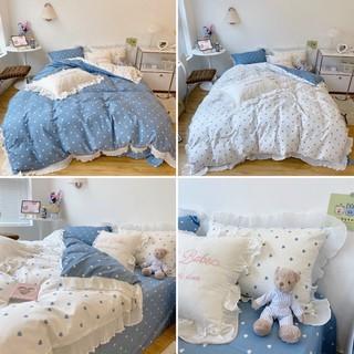 Bộ Chăn Ga Cotton Hàn quốc bèo ren mềm mịn điệu đà dùng được hai mặt