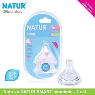 Núm vú cổ rộng nhiều tia Natur SMART biomimic Size S M L Bộ 2 cái