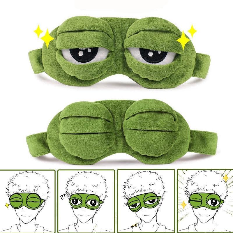 Cute Soft Plush 3d Frog Sleeping Blindfolds Relax Massager