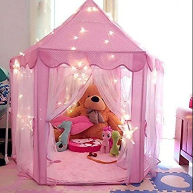 Lều công chúa màu hồng+ tặng kèm 100 bóng ạ