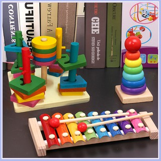 Combo 3 món: 1 Đàn gỗ Xylophone 8 thanh (Thường); 1 Tháp xếp cầu vồng; 1 Bộ thả hình 5 cột khối giá rẻ