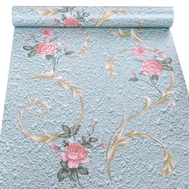 Giấy dán tường hoa hồng 3d xanh 10m x 45 cm sẵn keo