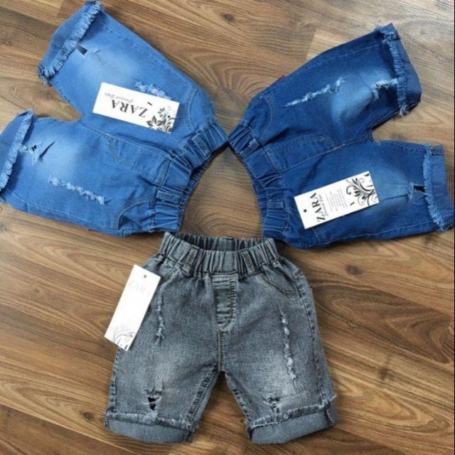 Combo 3 quần Jean rách gối cho bé trai/ bé gái dưới 6 tuổi