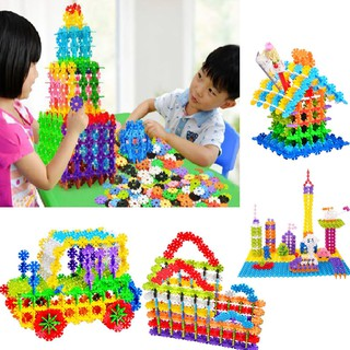 100Pcs/200Pcs Child Kid Multicolor Snowflake Building Blocks Educational Fun Toys