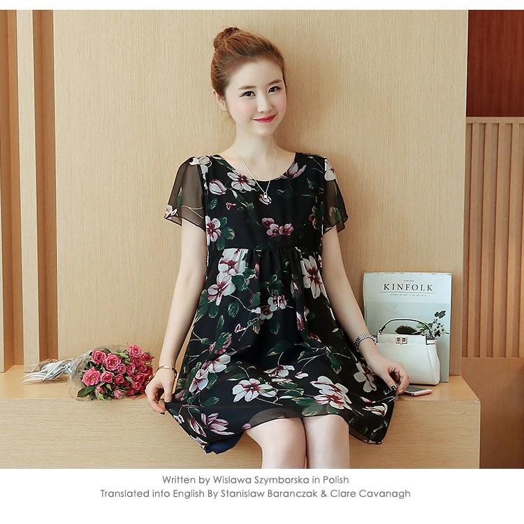 Đầm (Váy) Bầu Voan Xòe Hoa- Đen