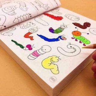 Tập tô 5000 hình kèm 12 bút màu