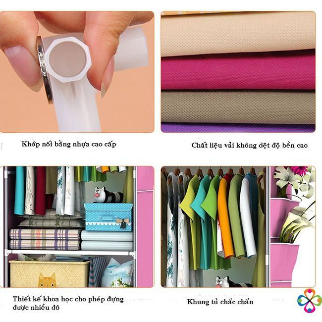 Tủ Vải Đựng Quần Áo 3D 1 Buồng 2 Ngăn, Tủ Quần Áo Vải Họa Tiết Đẹp Mắt - Khung Sắt Cao Cấp Chống Gỉ