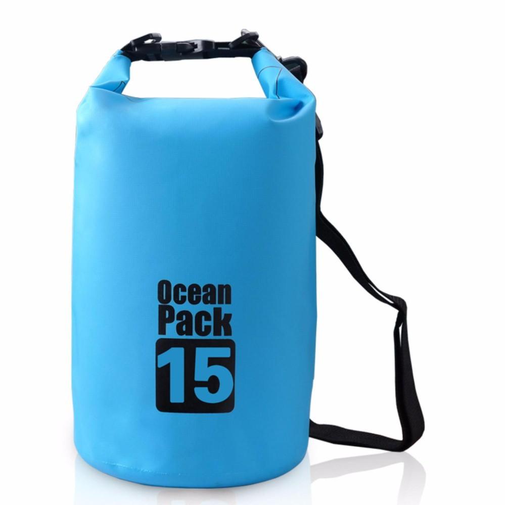 Túi chống nước tuyệt đối 100%, 15L, đeo chéo vai, chất liệu cao cấp POPO Collection (Xanh biển)