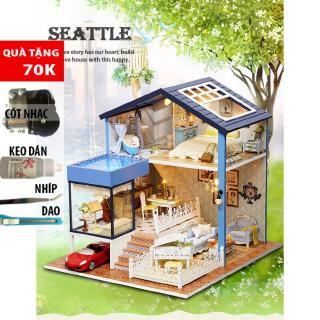 Đồ trang trí Mô hình nhà lắp ghép có đèn SEATTLE CUTEA061 DochoiHCM