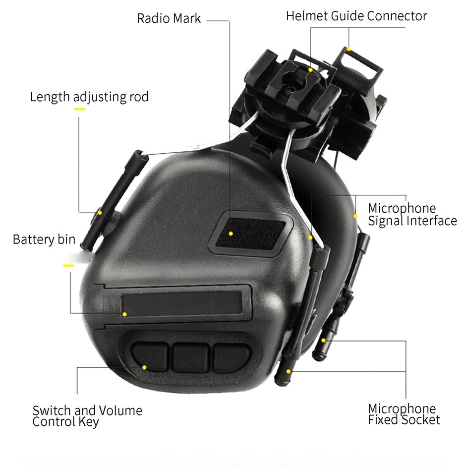 【Flash.】Tactical Headset Helmet-Type Headphone Fifth Generation Chip Removable Design
