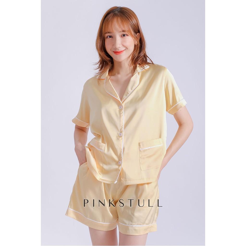 Bộ đồ ngủ pijama ngắn Pink Stull vàng viền kẻ