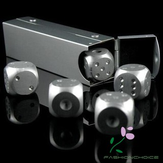5 pcs/set Aluminum Alloy Engrave Metal Dice Square Tube Poker Party Game Toy Casino Dominoes Portable Bosons