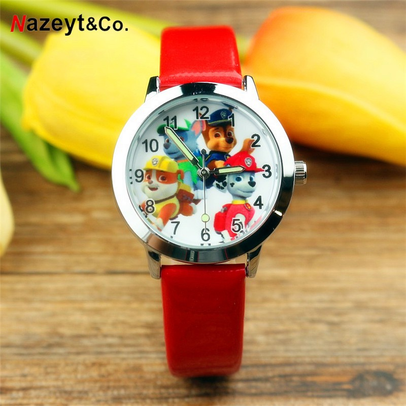 Simple boys and girls luminous pointer quartz watch Cartoon Wang Wang team pupils belt watch