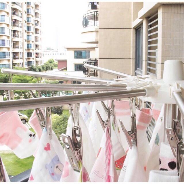 Cây phơi quần áo 3 tầng đa năng cao cấp bằng inox,(2 tầng móc kẹp, 1 tầng thanh phơi)