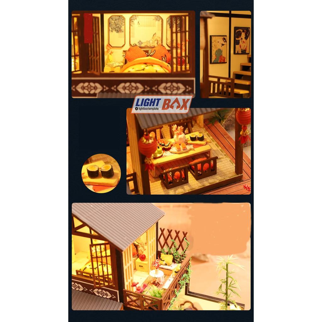 Nhà búp bê Tự làm bằng gỗ [Nhà có nội thất JAPANESE STYLE HOUSE & đèn LED & Âm nhạc]...