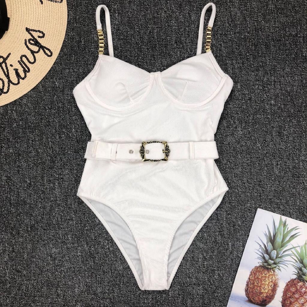 Mặc gì đẹp: Tắm biển vui với Bộ đồ tắm bikini một mảnh hai dây phối thắt lưng khóa kim loại thời trang