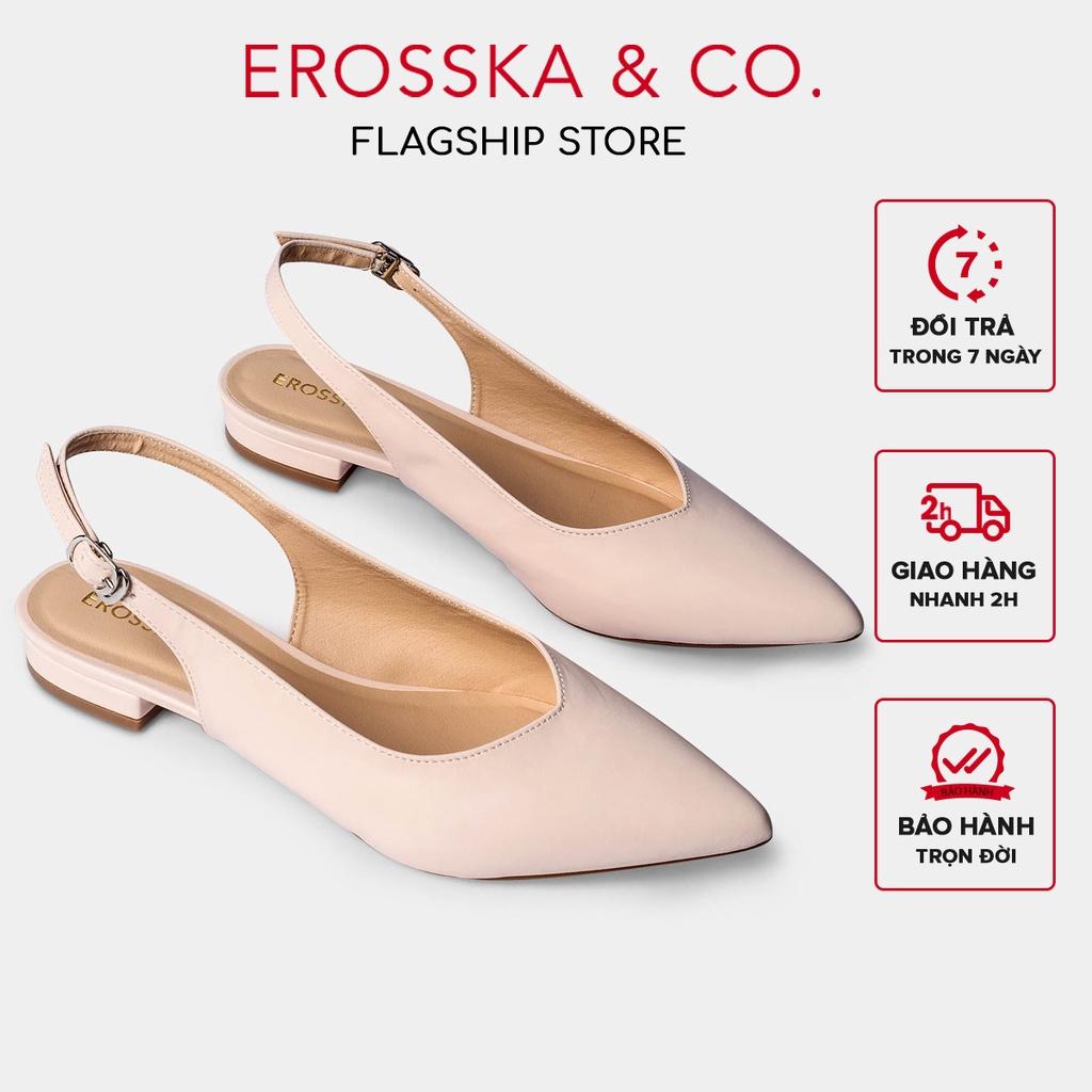 [Mã WABR151 giảm 10% đơn 99000] Giày cao gót Erosska mũi nhọn phối dây hở gót cao 2cm màu nude _ EL001