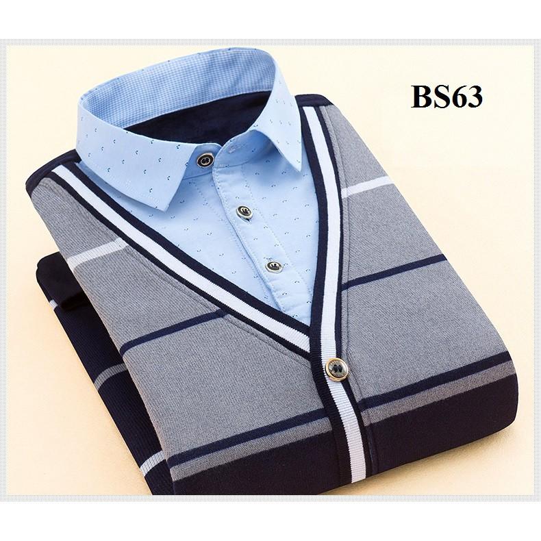 Áo len nam lót nhung phối cổ sơ mi BS63