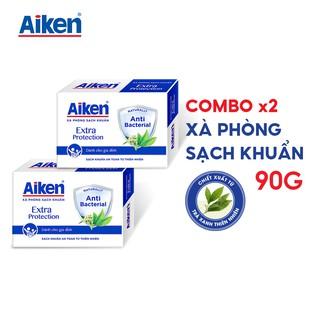 [TẶNG SỮA TẮM AIKEN MINI 60G] Aiken Combo 2 Xà Phòng Sạch Khuẩn Chiết Xuất Trà Xanh Thiên Nhiên 90G/hộp